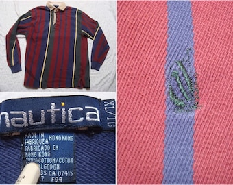 d116462d Vintage Men's 90's Nautica Rugby Polo Shirt Red Blue Green Stripe Boat Logo Long  Sleeve Distressed XL