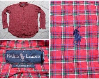 d0c45ebf8 Vintage Men s Ralph Lauren Shirt Plaid Red Blue Green Buttonup Long Sleeve  Classic Fit Cotton Large