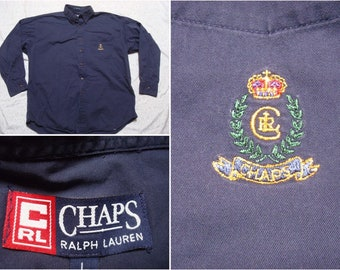 5dbdf3a8304 Vintage 90's Chaps Shirt Ralph Lauren Solid Blue Oxford Crest Buttonup Long  Sleeve Cotton Oversized Large