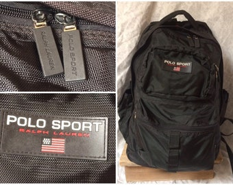 8b6a4180e0 Vintage 90 s Polo Sport Backpack Ralph Lauren Black Nylon Book Bag Pack
