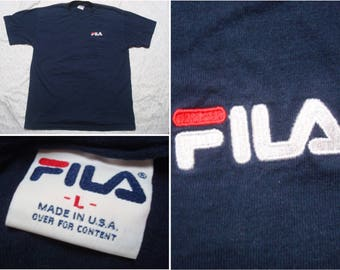 Vintage Men s 90 s Fila Tee Shirt Blue White Red Embroidered Logo Short  Sleeve Large Made in the USA d0c89e9b096e