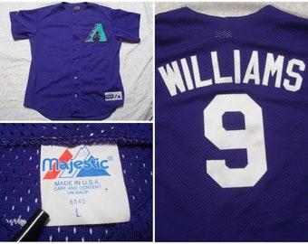 056df7ae6 Vintage Men s 90 s Majestic Arizona Diamondbacks Baseball Jersey Purple  Green Matt Williams Sewn Letters MLB Throwback Large Made in USA