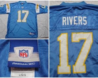 edb2ea272 Vintage Men s Reebok Jersey San Diego Chargers Philip Rivers Powder Blue  Yellow White Football NFL 17 Large