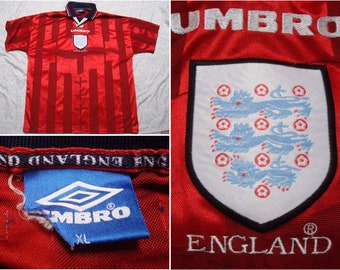 613c9009afb Vintage 90's England Jersey Umbro 1998 World Cup Soccer Team Red Blue  Collared Shirt Short Sleeve XL