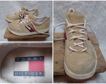 e63245a1f2e0 Vintage Men s 90 s Tommy Hilfiger Sneakers Tan White Blue Red Suede Shoes  Leather Size 11.5