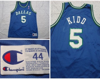 Vintage Men s 90 s Jason Kidd Champion Basketball Jersey Dallas Mavericks  Blue Green Clean Crisp Large XL 44 Made in USA 79cbc2255