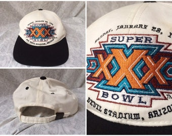 Vintage 90 s Super Bowl XXX Hat Cap Snapback White Black One Size 0a8a0931b