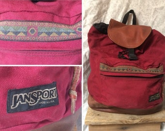 Vintage 90 s Jansport Backpack Leather Bottom Red Tribal Print Tear Drop  Top Loader Canvas Bag Day Pack Made in the USA 21a594c33d