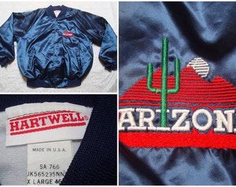 ebe65fb355e3 Vintage Retro Men s 80 s Hartwell University of Arizona Wildcats Satin Jacket  Blue Red Sunset Logo Cactus Snaps XL Made in the USA