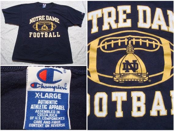 Vintage Men's 90's Champion Tee shirt Notre Dame Football Blue Yellow Silk Screen Short Sleeve XL