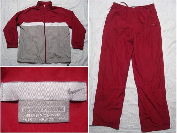 3d4fb0c3523 Vintage Men's Nike Track Suit Windbreaker Red Maroon Grey | Etsy