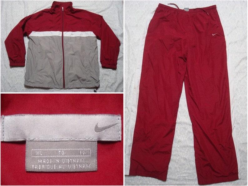 84219edd066ad5 Vintage Men s Nike Track Suit Windbreaker Red Maroon Grey