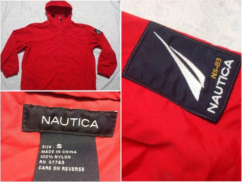 077fa8239 Vintage Men's 90's Nautica Jacket Anorak Red Blue Full-zip Patch  Windbreaker Rain Small