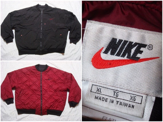 Swoosh Nike Windbreaker Bomber 90's Reversible Logo Maroon Big Zip Insulated Vintage Black Men's XL Red Jacket Full srdxohQCtB