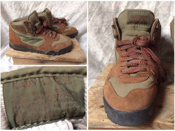 largest selection of available enjoy big discount Vintage Women's 90's Hi Tec Lady Lite II Hiking Boots Tan Brown Green  Leather Shoes size 10 uk 8