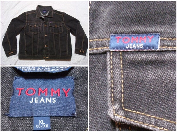Vintage Men's 90's Tommy Jeans Jacket Black Hilfiger Denim Jean XL