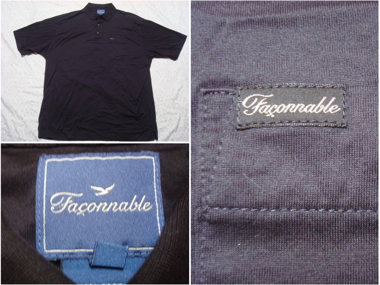 Vintage Retro Men's 90's Faconnable Polo Shirt Blue Embroidered Logo Short Sleeve Golf Medium MhAQNx82
