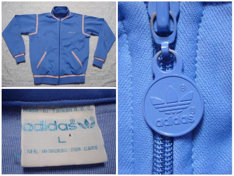 Weinlese Frauen 80er Adidas Track Jacke blau rosa Klee Blatt Logo voller Zip große Herren Größe Medium