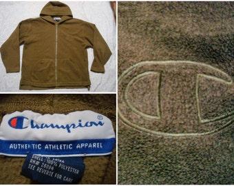 Vintage Retro Men's 90's Champion Fleece Hoodie Jacket Brown Tan Big Logo Spell Out Streetwear Full Zip Large