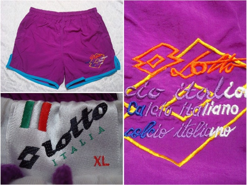Vintage Men/'s 90/'s Lotto Swimsuit Purple Blue Embroidered Logo Italian Trunks XL