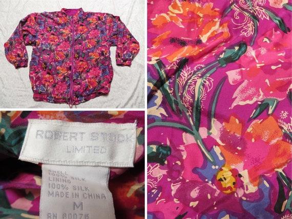 Vintage Robert Stock Silk Bomber Jacket 90's Desig