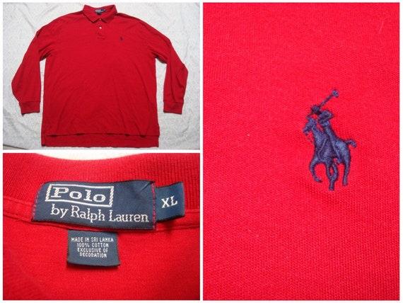 Vintage Men's 90's Polo Ralph Lauren Shirt Red Cotton Jersey Long Sleeve XL