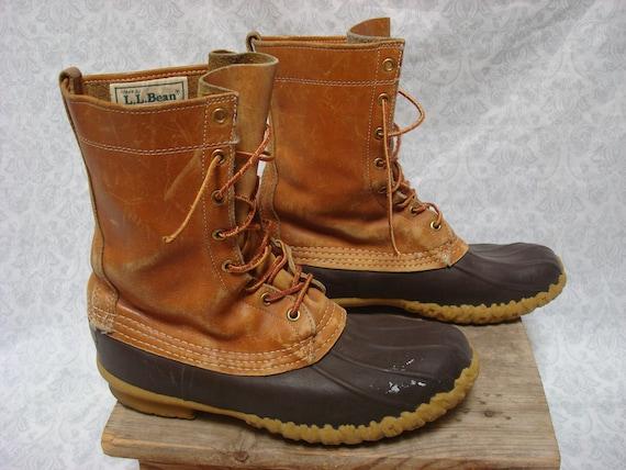 L.L.Bean Maine chasse chaussure Bean bottes cuir haut cheville détresse Mens 8 femmes taille Vintage hommes 9.5 Made in USA