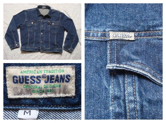 Vintage Men S 80 S Guess Jeans Blue Jean Jacket Etsy