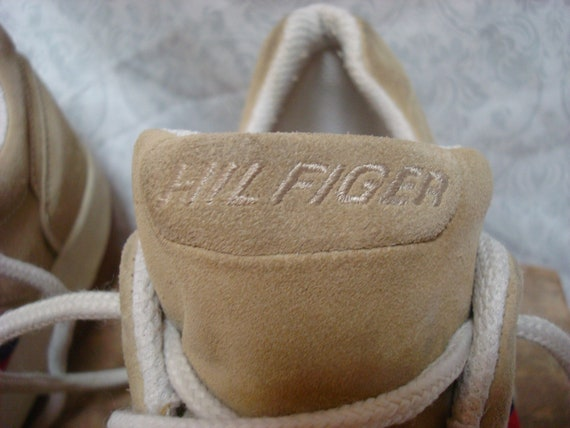Vintage Tommy Hilfiger Sneakers Tan White Blue Re… - image 3