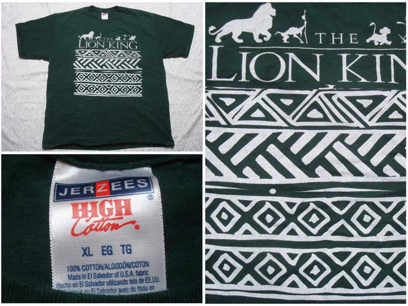 d3ddcc77 Vintage Men's 90's Lion King Tee shirt Green White | Etsy