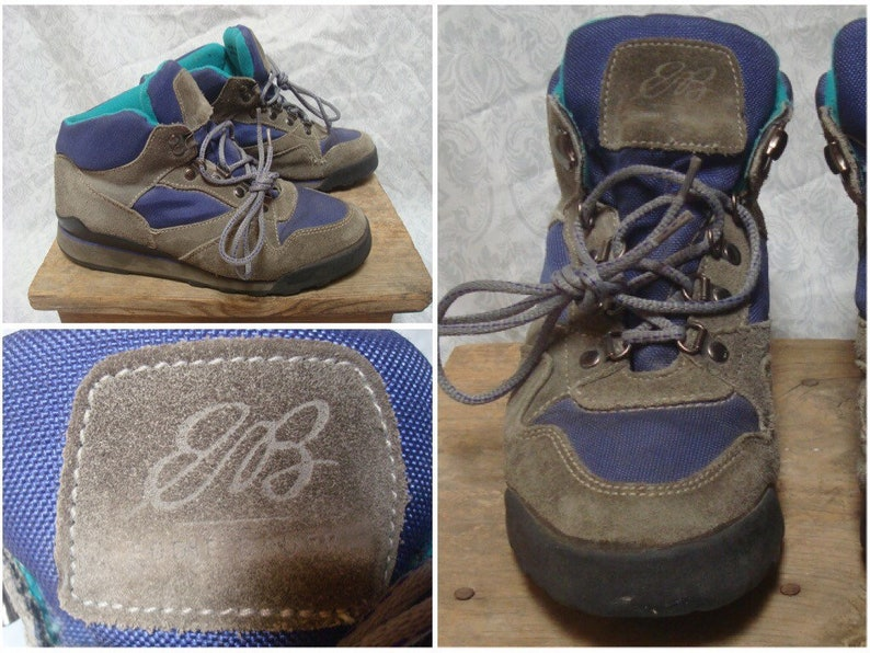 86c70f2c248 Vintage Women's 90's Eddie Bauer Hiking Boots Leather Grey Brown Purple  Green Ankle Shoes size 8
