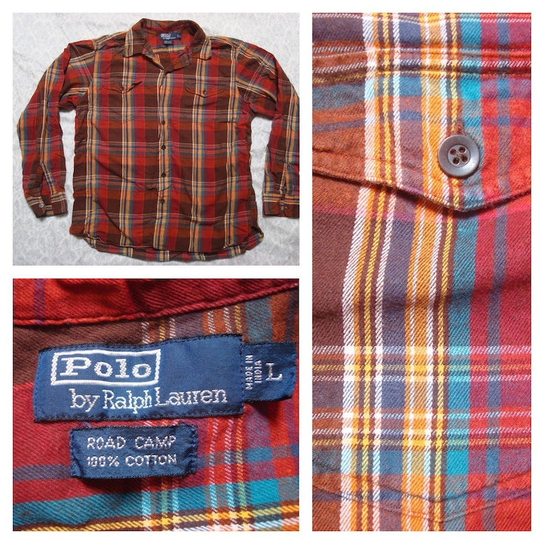 Clearance Vintage Men's Polo Ralph Lauren Road Camp Red Green Yellow Blue Brown Plaid Buttonup Long Sleeve Shirt Cotton Large