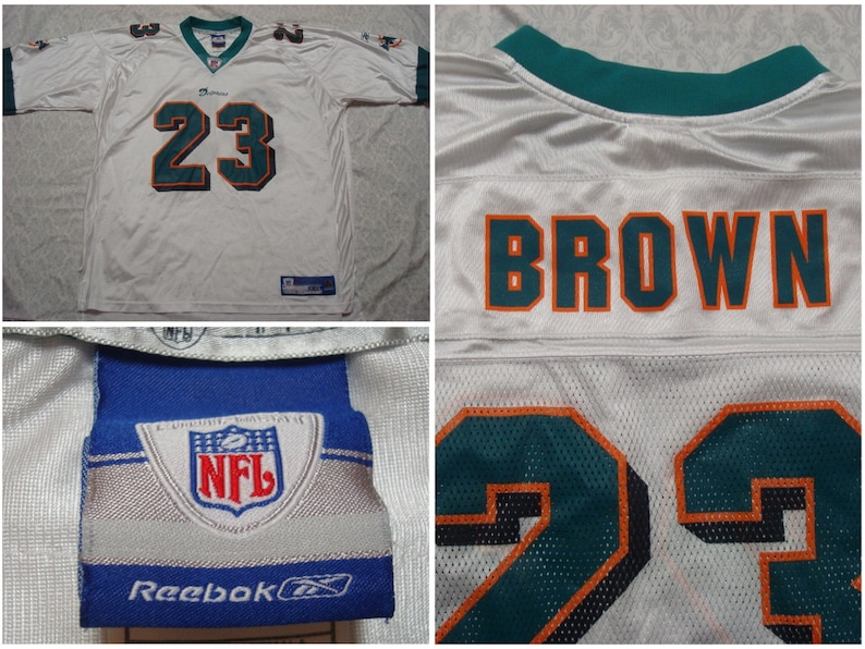 b2dec10f Vintage Men's Reebok Jersey Miami Dolphins Ronnie Brown White Orange Green  Football NFL 23 XXL