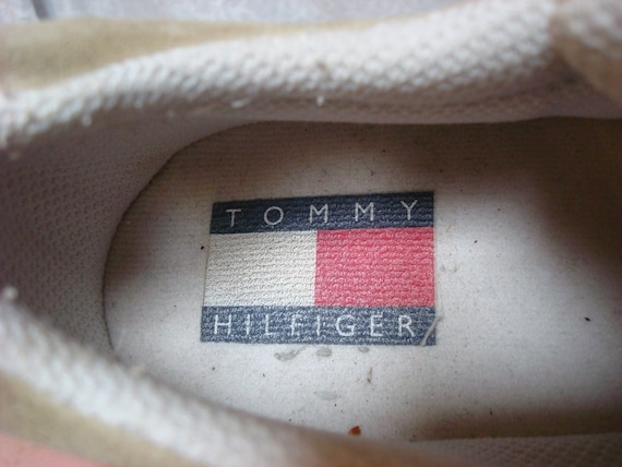 Vintage Tommy Hilfiger Sneakers Tan White Blue Re… - image 4
