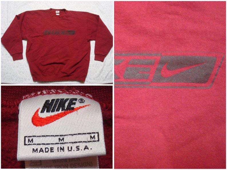 f0bb280c3c20 Vintage Men s 90 s Nike Sweatshirt Maroon Red Black