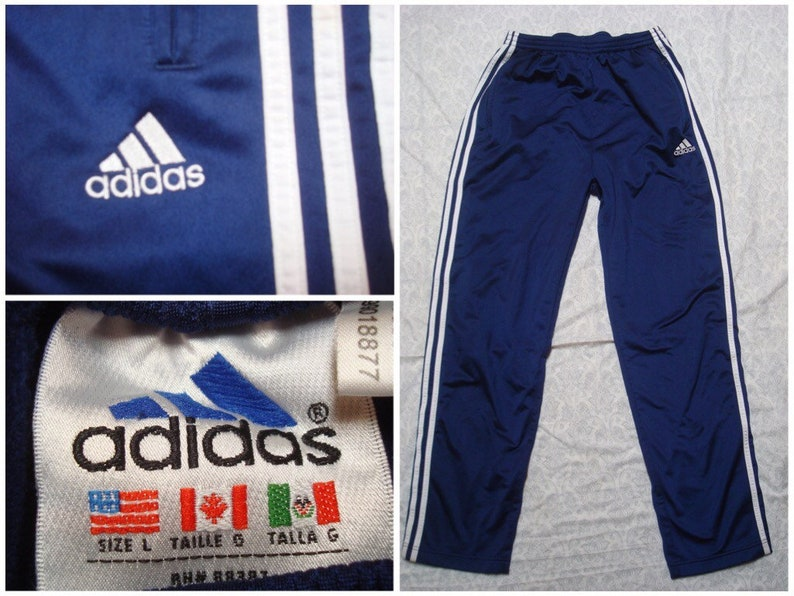 Vintage Men's Adidas Warmup Pants Breakaway Tearaway Basketball Blue White Three Stripes Logo Spell Out Large