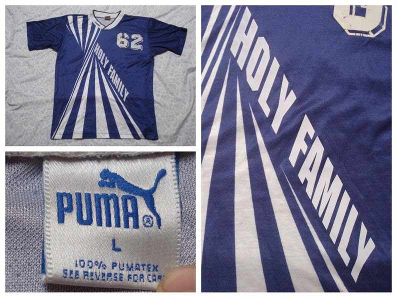 b00a264d913 Vintage Men s Puma Soccer Jersey Purple Blue White