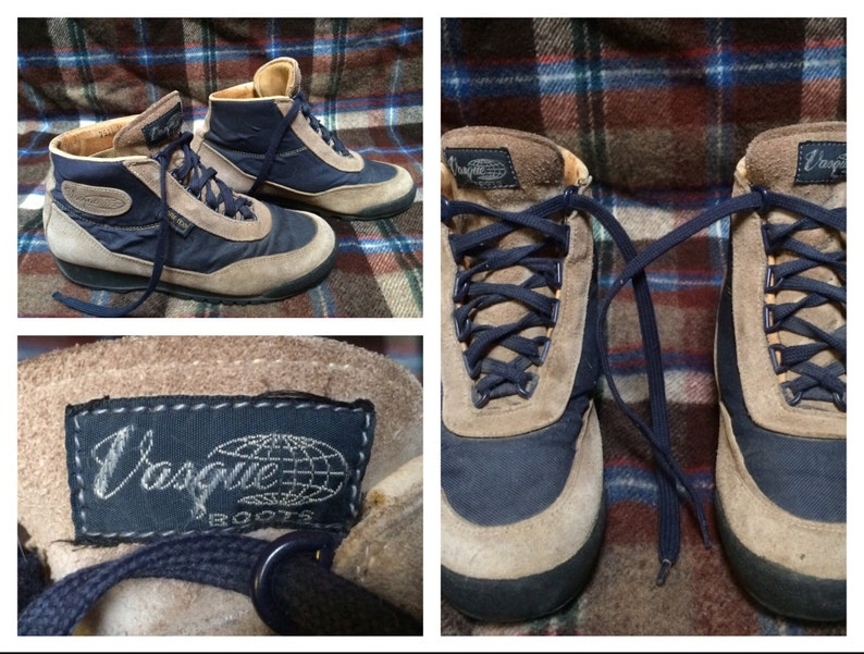 55da283329d Vintage Men's Vasque Skywalk Hiking Boots Blue Brown Leather Mens size 8.5  Womens size 10 Made in Italy