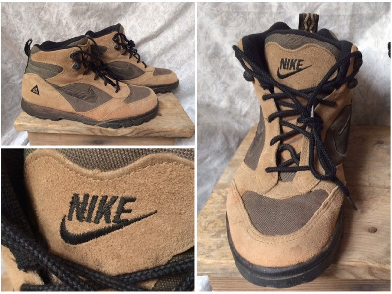 d49c1ecf3f8ff Vintage Women's 90's Nike ACG Hiking Boots Brown Black Tan Leather Ankle  Boots size 8.5 euro 40 uk 6