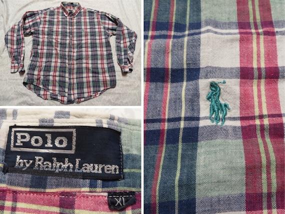 Vintage Polo Madras Shirt Ralph Lauren Red Blue Pl