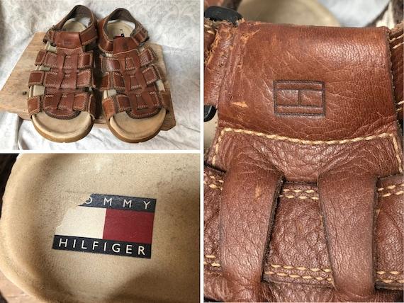 Vintage Tommy Hilfiger Sandals Brown Leather Fishe