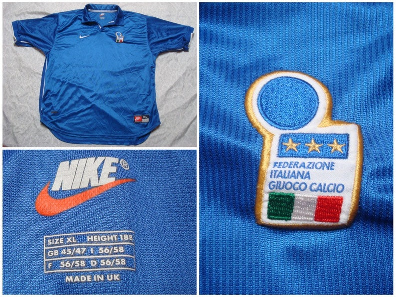 26d5f2c9f Vintage Men s 90 s Italy Nike Soccer Jersey Blue Red