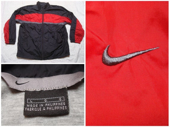 f0a57297ae89 Vintage Men s Nike Jacket Black Red Grey Full Zip Back