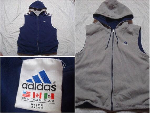 Details about Vintage Adidas Men's Medium BlueGrey Reversible Lined Windbreaker Coat Jacket
