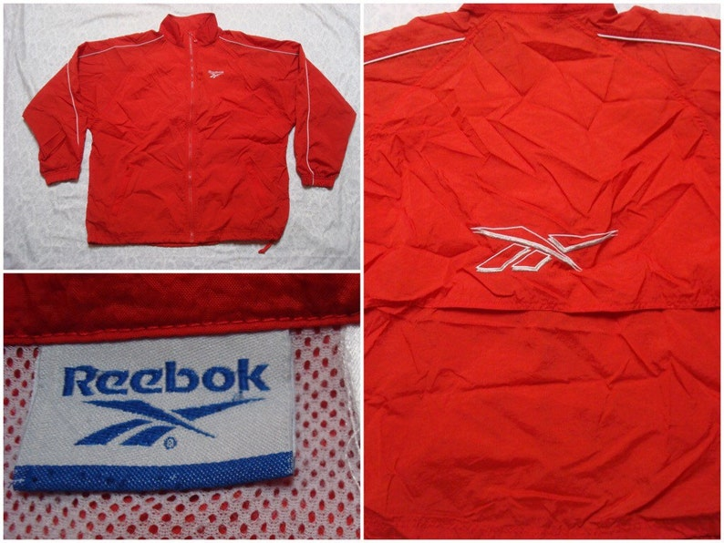 f72c92f6f803 Vintage Men s 90 s Reebok Jacket Red White Running