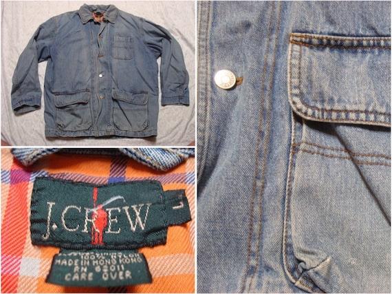 Vintage Jcrew Denim Chore Jacket Barn Coat Blue Pl