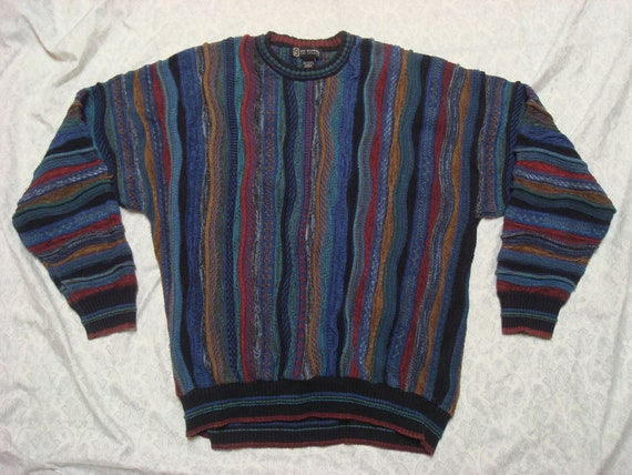 Vintage Via Europa Fine Sweaters Coogi Inspired Sweater Blue Red Yellow Green Knit Hip Hop Streetwear 90's Men's XL