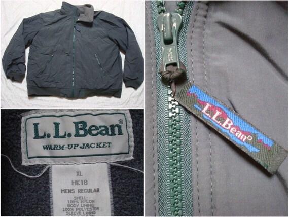 Vintage Mens 90s Llbean Warm Up Jacket Dark Green Windbreaker Fleece Lined Full Zip Xl