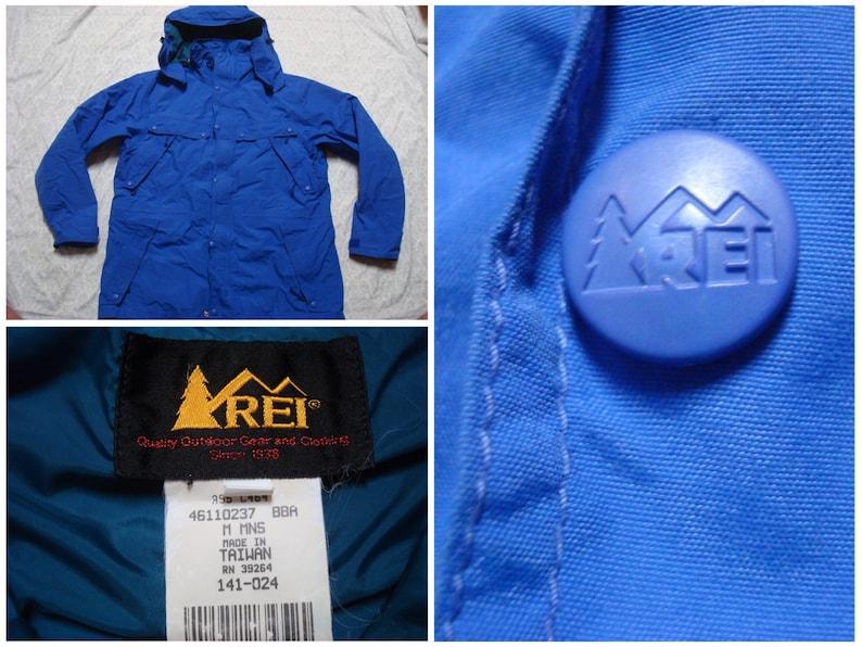 040e47426 Vintage Men's REI Parka Jacket Royal Blue Goretex Full-zip Rain Hood Hard  Shell Windbreaker Medium