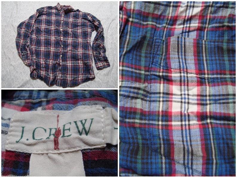 4dbf0dfeb6c Vintage Men's J.Crew Shirt Blue Red Green Plaid   Etsy